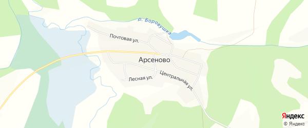 Карта села Арсеново в Кемеровской области с улицами и номерами домов