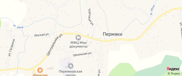 Центральная улица на карте села Пермяки Кемеровской области с номерами домов