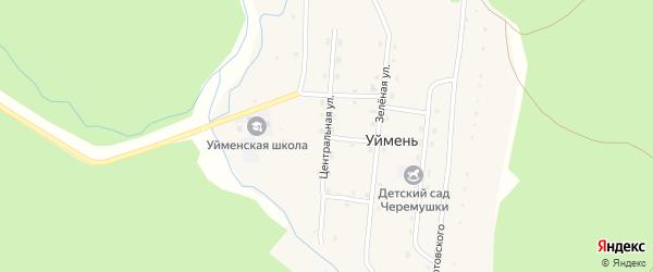 Центральная улица на карте села Уймень Алтая с номерами домов