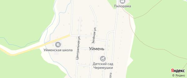 Зеленая улица на карте села Уймень Алтая с номерами домов