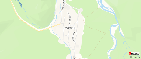 Карта села Уймень в Алтае с улицами и номерами домов