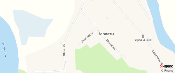 Зеленая улица на карте села Чердаты Томской области с номерами домов