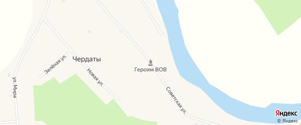 Советская улица на карте села Чердаты Томской области с номерами домов