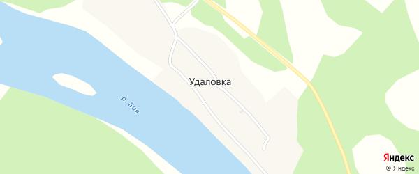 Береговая улица на карте села Удаловки Алтая с номерами домов