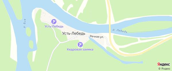 Речная улица на карте села Усти-Лебедя Алтая с номерами домов