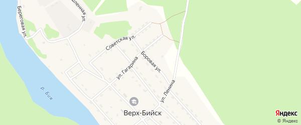 Боровая улица на карте села Верха-Бийска Алтая с номерами домов