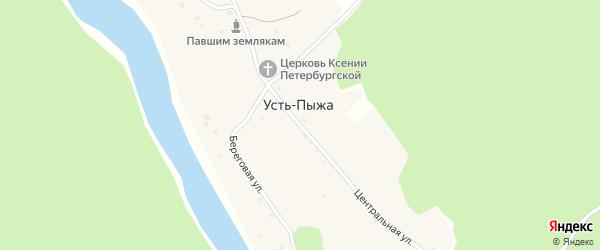 Центральная улица на карте села Усть-Пыжа Алтая с номерами домов
