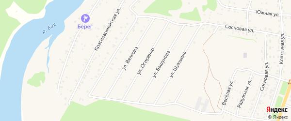 Улица Огиренко на карте села Турочак Алтая с номерами домов