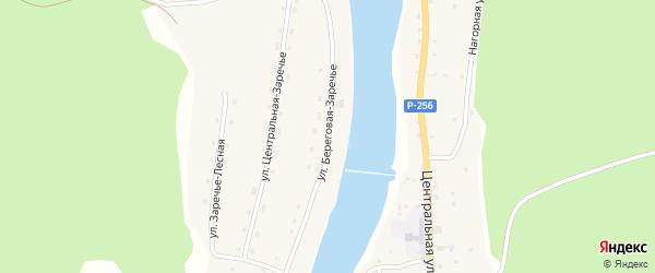 Береговая улица на карте села Заречья Алтая с номерами домов