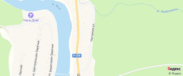 Нагорная улица на карте села Кебезени Алтая с номерами домов