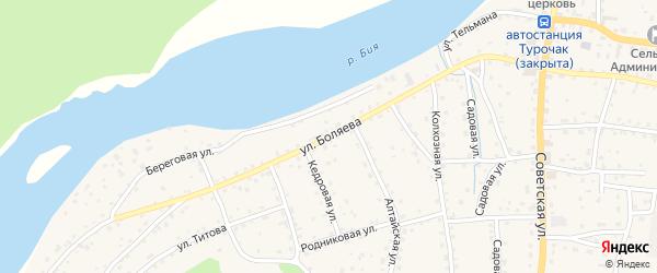 Улица Боляева на карте села Турочак Алтая с номерами домов