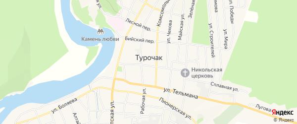 Карта села Турочак в Алтае с улицами и номерами домов