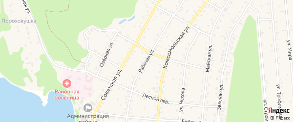 Рабочая улица на карте села Турочак Алтая с номерами домов