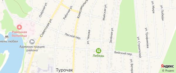 Улица Чехова на карте села Турочак Алтая с номерами домов