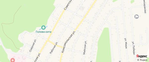 Комсомольская улица на карте села Турочак Алтая с номерами домов