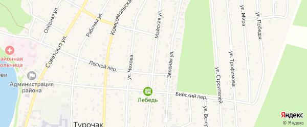 Майская улица на карте села Турочак Алтая с номерами домов
