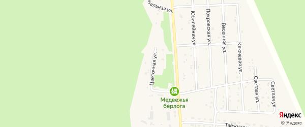 Цветочная улица на карте села Турочак Алтая с номерами домов