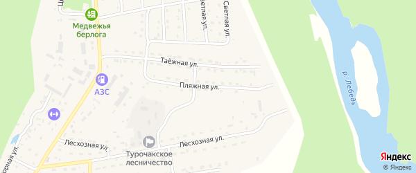 Пляжная улица на карте села Турочак Алтая с номерами домов