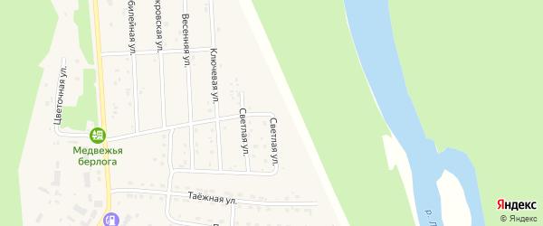 Светлая улица на карте села Турочак Алтая с номерами домов