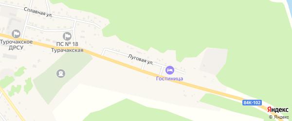 Луговая улица на карте села Турочак Алтая с номерами домов
