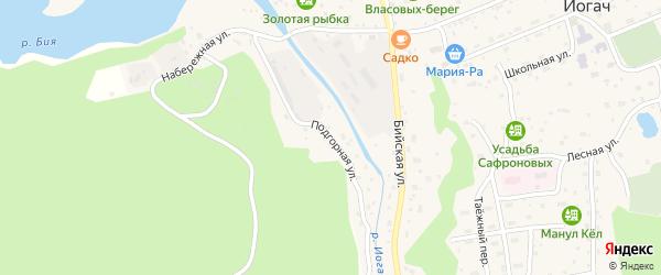 Подгорная улица на карте села Артыбаш Алтая с номерами домов