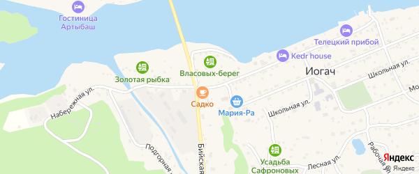 Набережная улица на карте села Иогач Алтая с номерами домов