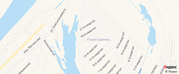 17-й квартал на карте территории СНТСН Озера Еремеш с номерами домов