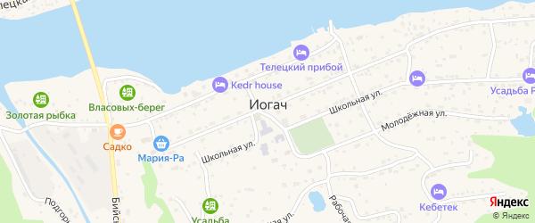 Телецкий переулок на карте села Иогач Алтая с номерами домов