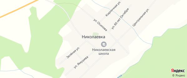 Карта села Николаевки в Кемеровской области с улицами и номерами домов