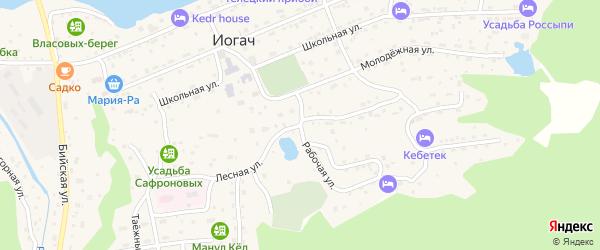 Лесная улица на карте села Иогач Алтая с номерами домов