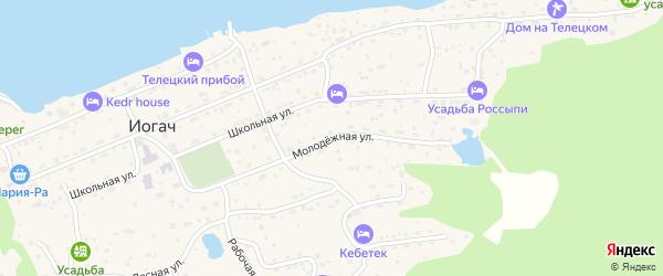 Молодежная улица на карте села Иогач Алтая с номерами домов