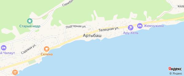 Малиновая улица на карте села Артыбаш Алтая с номерами домов