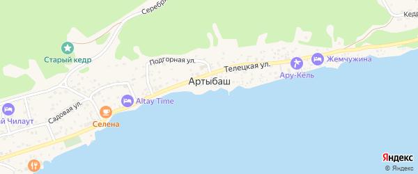 Юбилейная улица на карте села Артыбаш Алтая с номерами домов