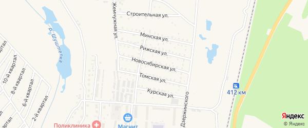 Новосибирская улица на карте Калтана с номерами домов