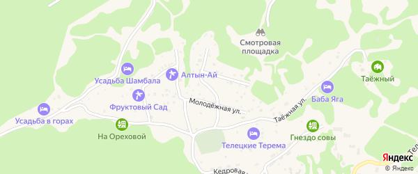 Солнечный переулок на карте села Артыбаш Алтая с номерами домов