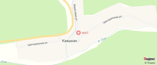 Береговая улица на карте села Каяшкан Алтая с номерами домов