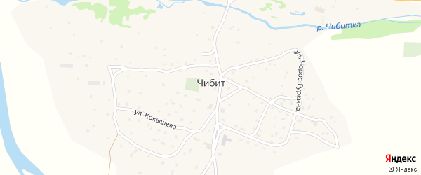 Чибитская улица на карте села Чибита Алтая с номерами домов