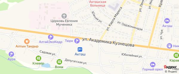 Улица Кузнецова на карте села Акташа Алтая с номерами домов