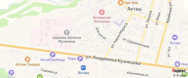 Улица Зяблицкого на карте села Акташа Алтая с номерами домов