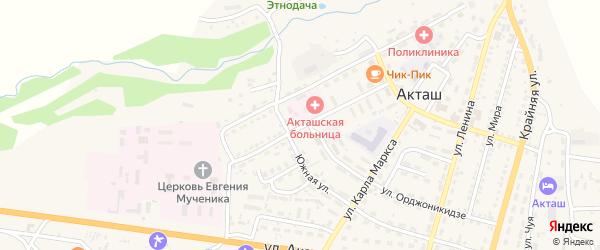 Улица Пушкина на карте села Акташа Алтая с номерами домов