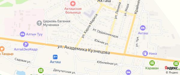 Южная улица на карте села Акташа с номерами домов