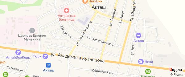 Улица Орджоникидзе на карте села Акташа Алтая с номерами домов