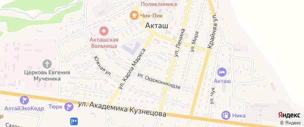 Улица Космонавтов на карте села Акташа Алтая с номерами домов