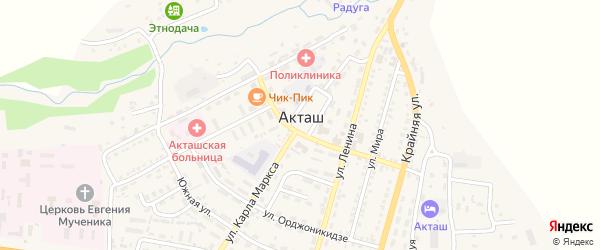 Подгорная улица на карте села Акташа Алтая с номерами домов