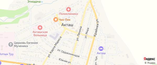 Улица Ленина на карте села Акташа Алтая с номерами домов