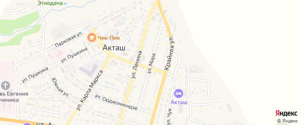 Улица Мира на карте села Акташа Алтая с номерами домов