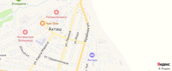 Крайняя улица на карте села Акташа Алтая с номерами домов