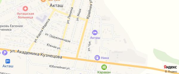 Улица Чуя на карте села Акташа Алтая с номерами домов