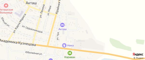 Дорожный переулок на карте села Акташа Алтая с номерами домов