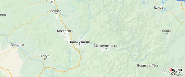 Карта Новокузнецкого района Кемеровской области с городами и населенными пунктами